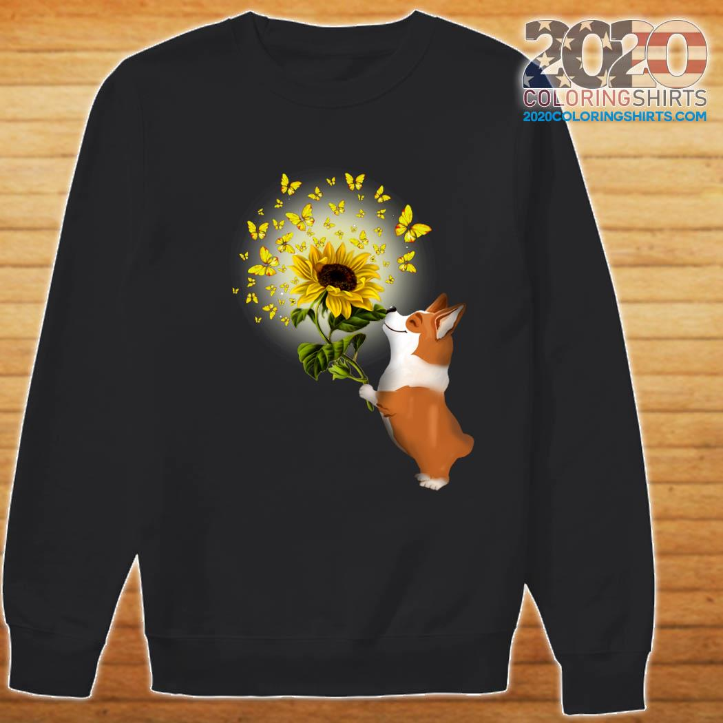 Corgi Butterfly Sunflower Shirt