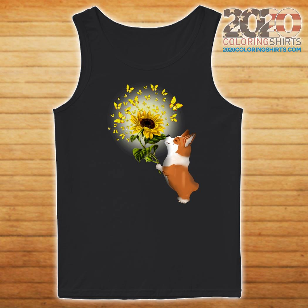Corgi Butterfly Sunflower Shirt Tank top