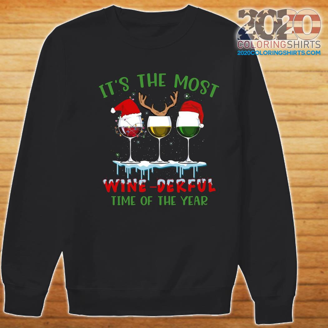 It's The Most Wine-derful Time Of The Year Merry Christmas Light Sweatshirt