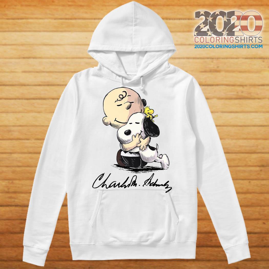 The Peanuts Snoopy Hug Charlie Brown And Woodstock Signature Shirt Hoodie
