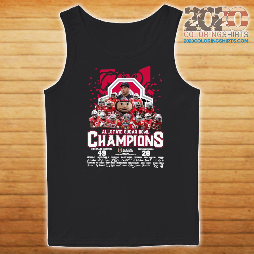 Allstate Sugar Bowl Champions 2021 Ohio State Buckeyes 49 Clemson Tigers 28 Signatures Shirt Tank top