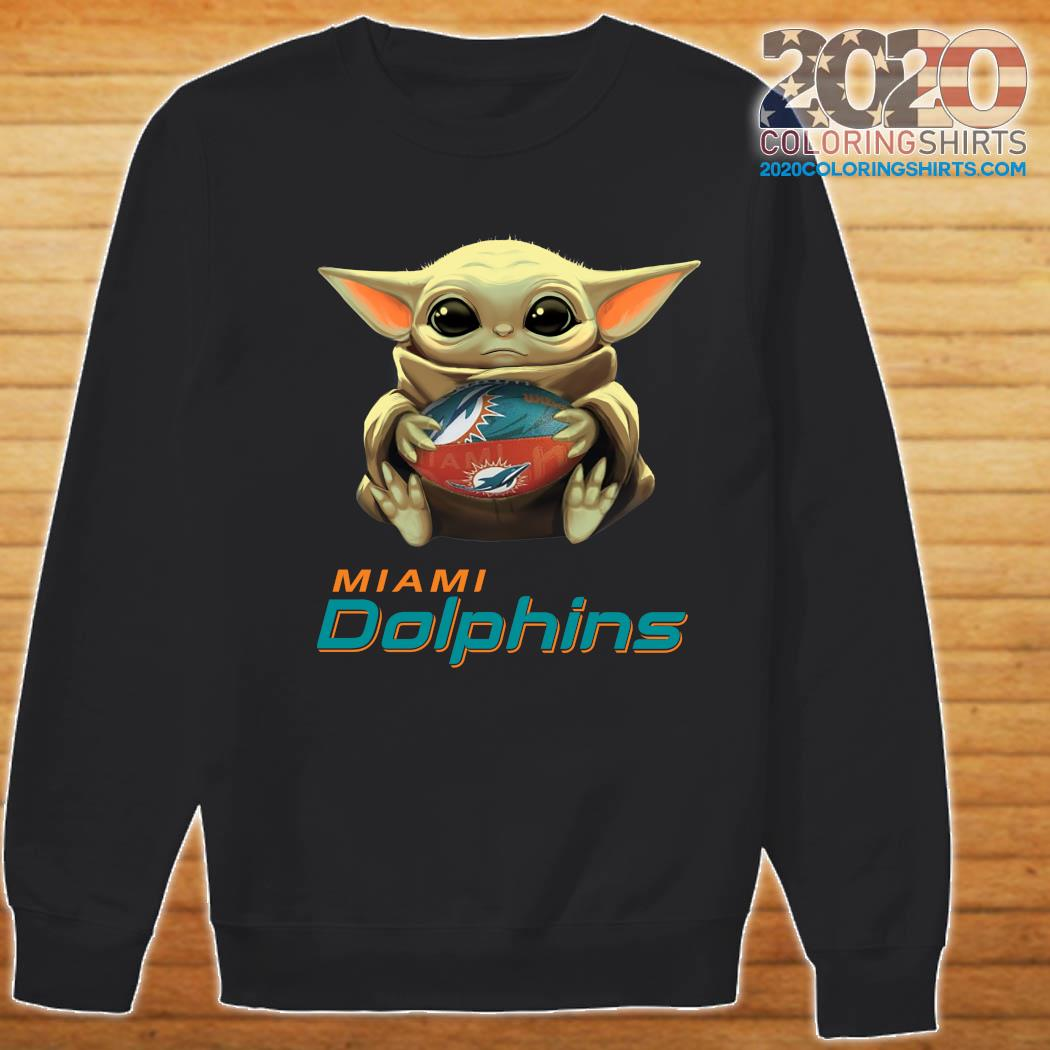 Baby Yoda Hug Miami Dolphins Football Shirt Sweater