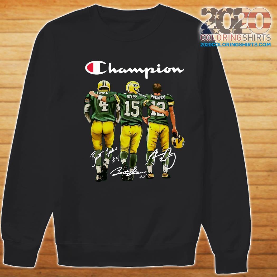 Champion Green Bay Packer Brett Favre 4 Bart Starr 15 Aaron Rodgers 12 Signatures Shirt Sweater