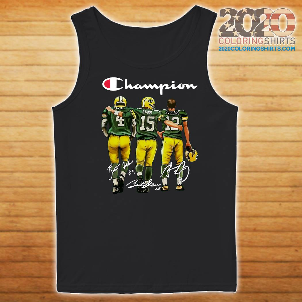 Champion Green Bay Packer Brett Favre 4 Bart Starr 15 Aaron Rodgers 12 Signatures Shirt Tank top