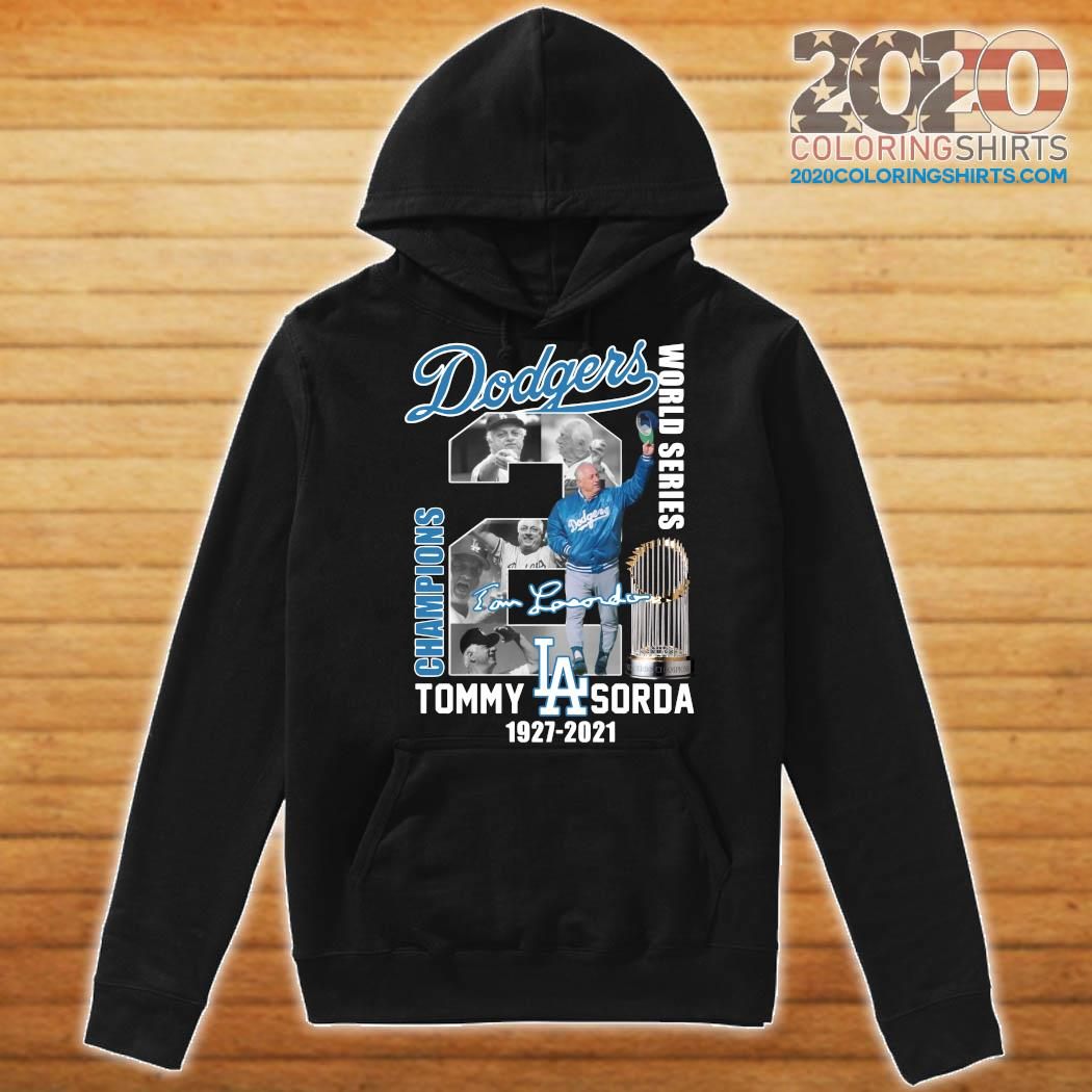 Los Angeles Dodgers Tommy Lasorda World Series 1927 2021 Signature Shirt Hoodie
