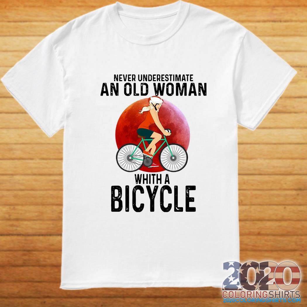 Never Underestimate An Old Woman With A Bicycle Shirt
