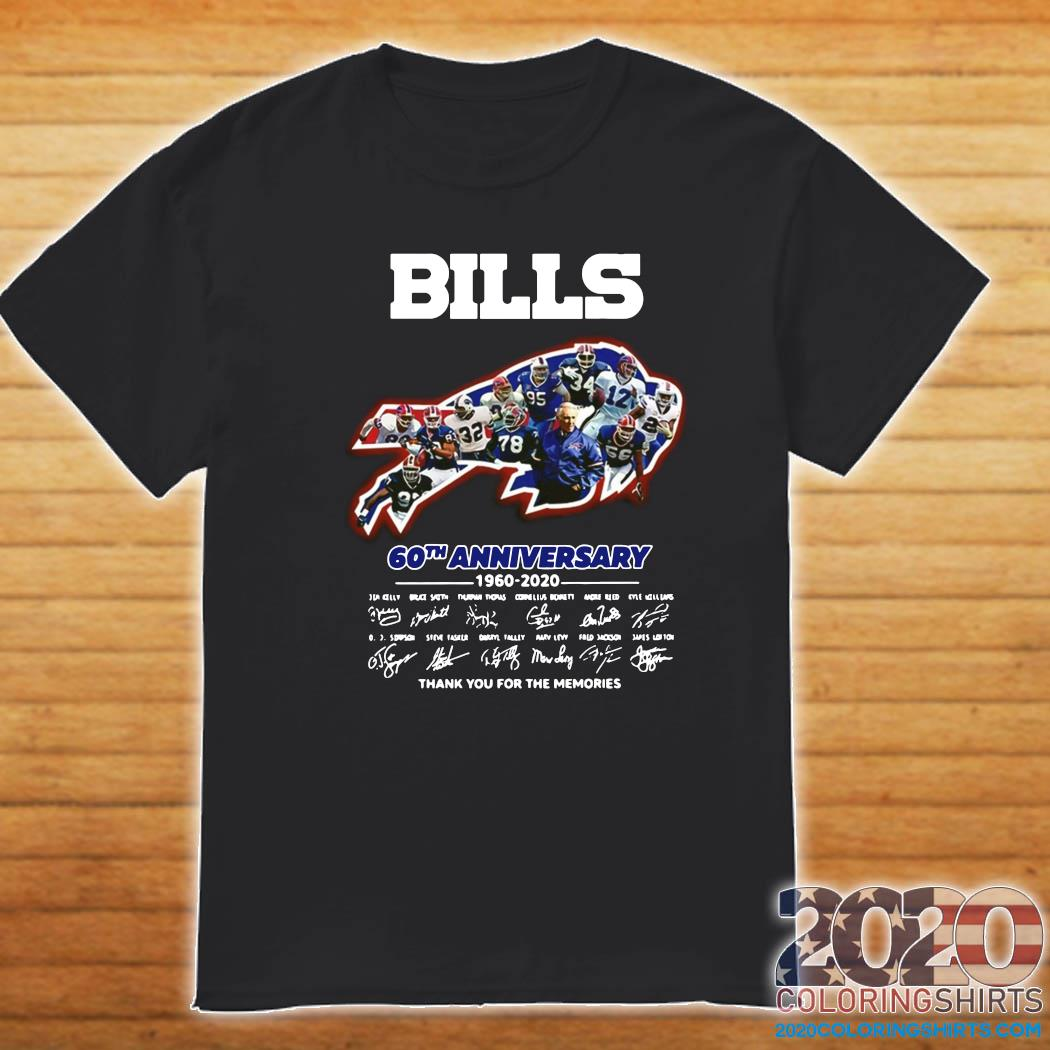 Official Buffalo Bills 60th Anniversary 1960 2020 Signatures Thanks For The Memories Shirt