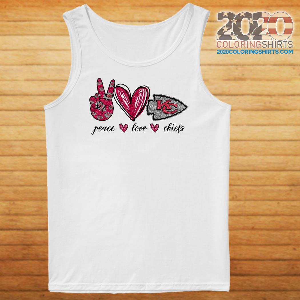 Official Diamond Peace Love And Kansas City Chiefs 2021 Shirt Tank top