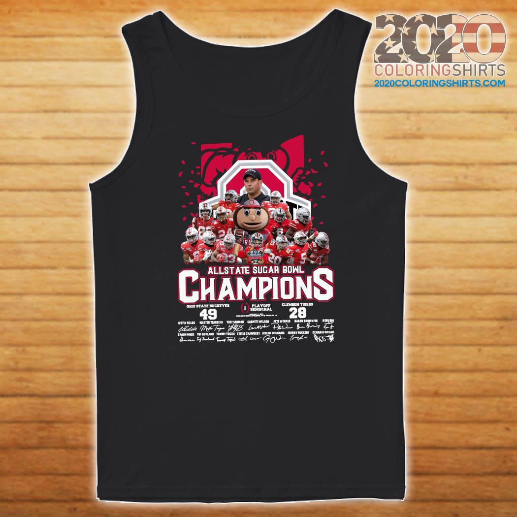 Ohio State Buckeyes Allstate Sugar Bowl Champions Playoff Semifinal Signatures Shirt Tank top