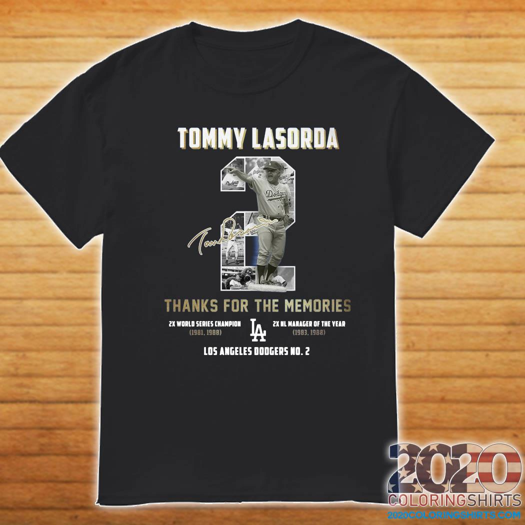 Tommy Lasorda 2 Thank You For The Memories Signature T-Shirt