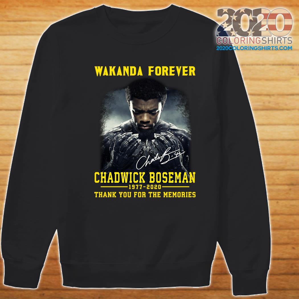 Wakanda Forever Chadwick Boseman 1977 2020 Thank You For The Memories Signature Shirt Sweater