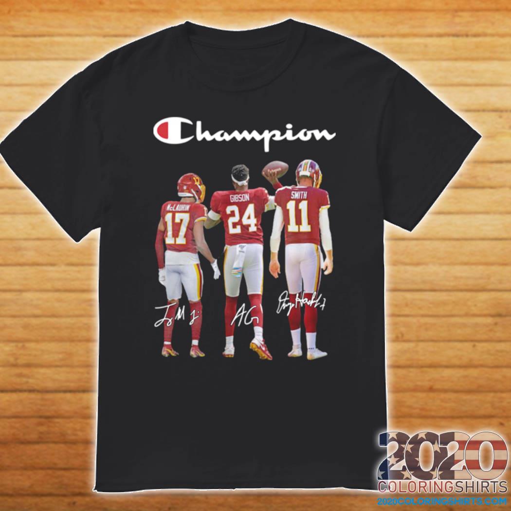 Washington Redskins Champion Terry Mclaurin 17 Antonio Gibson 24 Alex Smith 11 2021 shirt
