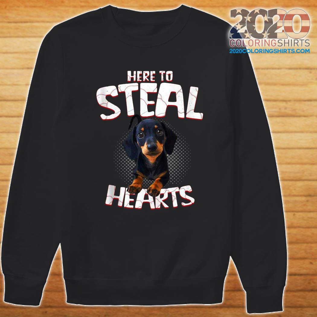 Official Dachshund Here To Steal Hearts Shirt Sweater