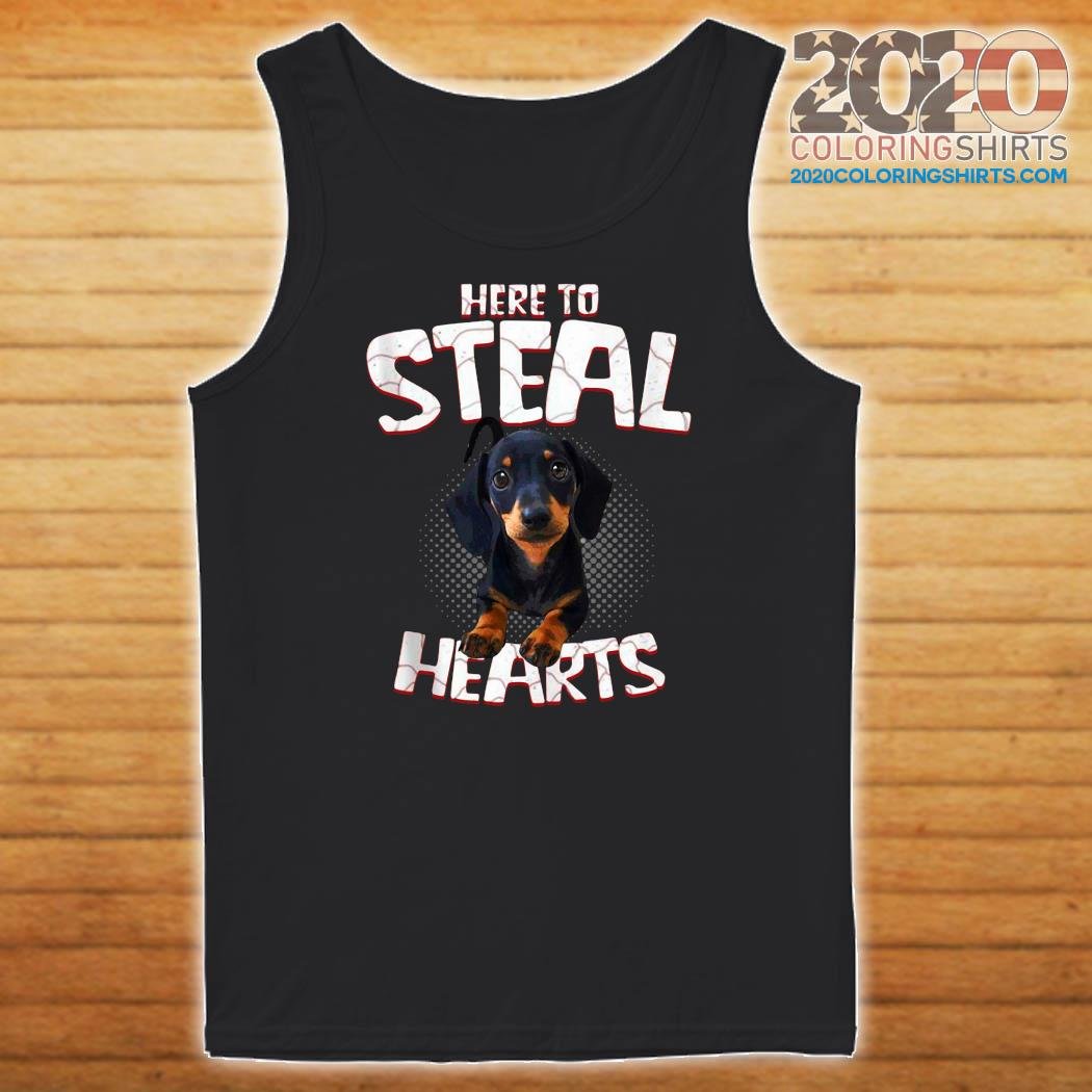 Official Dachshund Here To Steal Hearts Shirt Tank top