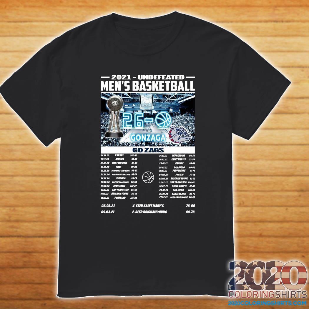 Official Gonzaga Bulldogs Champions 2021 Undefeated Men's Basketball Regular Season Shirt